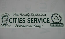 Vintage,Cities Service,Sign,on White Aluminum,Metal,Approx. 6x24in.
