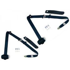 2Set Adjustable Dark Blue Retractable Car Seat Belt Lap 3Point Safety Universal