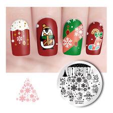BORN PRETTY Nail Stamping Plate Round Christmas Xmas Nail Art Stamp Stencils
