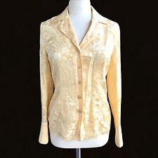 ESCADA Women's Size 36 US 6 Yellow Rare Floral Silk Long Sleeve Shirt