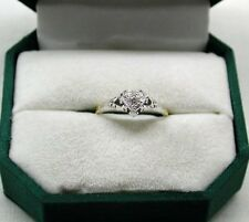 Vintage Lovely 18ct Gold And Platinum Diamond Solitare In Heart Shaped Setting