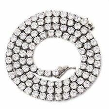 Unisex 4mm 1 Row Tennis Chain Necklace Stainless Steel Lab Diamond Chain Hip Hop