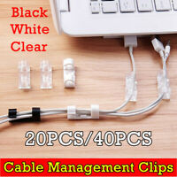 20/40Pcs Cable Clips Management Holder Cord Wire Line Organisers Self-Adhesive