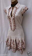 Karen Millen Beige Stripe Embroidered Floral Shirt Style Summer Flare Dress 12UK