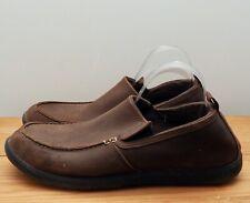Crocs shoes size M13 UK 12 brown slip on nubuck leather