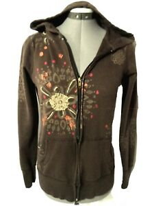 MAURICES Lounge Wear Hoodie Sweatshirt womens XS Brown Floral graphic Full ZipUp