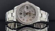 Ladies Rolex Datejust 26mm Ref 69160 1 CT Diamond Bezel MOP Dial Steel Quickset