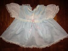Vintage Baby Girl Dress Light Blue with White Trim