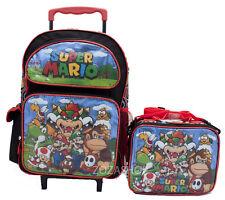 """Super Mario Bros. 16"""" Large Roller Backpack & Lunch Bag 2pc Set"""