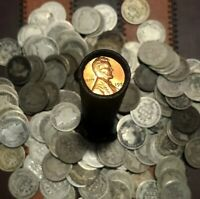 90% Silver Dime + Rare Lincoln Wheat Cent Roll Bank US Vintage