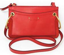 Chloe Roy Small Red Double Zip Leather Crossbody Women's Handbag - New!
