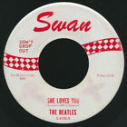"""Beatles RARE VINTAGE 1963 RED PRINT """" SHE LOVES YOU """" 45 ON SWAN RECORDS!"""