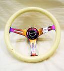 Nrg Steering Wheel 350mm Luminor White Glow In The Dark Wood Neochrome Spokes