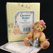 Vtg Enesco Cherished Teddies Figurine Rose Girl Bear Flower 202886 Roses 1996