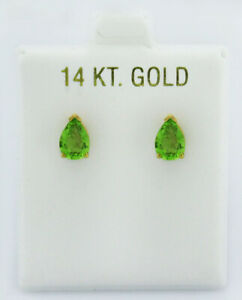 Details about  /Real 14kt Yellow Gold Peridot Dangle Earrings