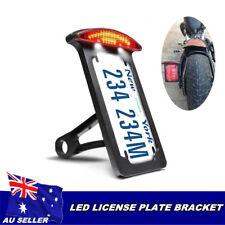 Black side mount number plate holder LED light for Harley chopper bobber custom