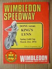 1974 Wimbledon Speedway- DONS v KING'S LYNN, 21 March (Org*, VG)