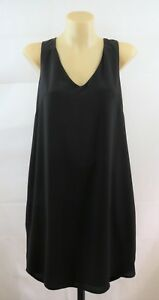 Size S 10 AUGUST Ladies Black Long Tunic Top Chic Work Cocktail Casual Design
