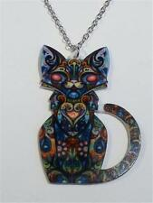 LASER CUT ACRYLIC NECKLACE - INTRICATELY PATTERNED CAT - FREE UK P&P......CG1920