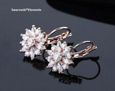 boucles d'oreilles fleur pétales Swarovski® Elements zirconium +boîte doré