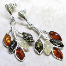 STYLISH GENUINE MULTI COLOR BALTIC AMBER 925 STERLING SILVER STUD EARRINGS