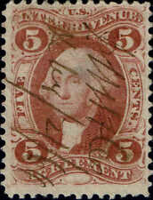 """#R23c 1862 5c """"AGREEMENT"""" FIRST ISSUE REVENUE STAMP USED--VF"""