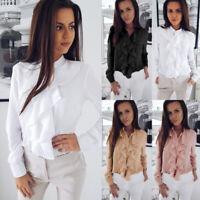 ❤️ Womens Chiffon Ruffle T Shirt Blouse OL Ladies Casual Long Sleeve V Neck Tops