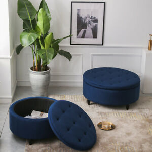 Round Chesterfield Large Footstool Ottoman Seat Coffee Table Velvet Pouffe Stool