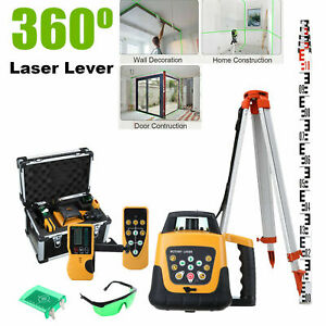 360° Rotary Green Laser Level + 1.65M Tripod + 5M Staff Self-Rotating 500m Range