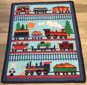 Crib Quilt, Printed Choo Choo Trains, Tracks, Sun, Clouds, Vivid Colors
