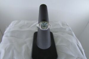 Designer Inspired Sterling Silver 3CT Aquamarine Cable Ring Size 7