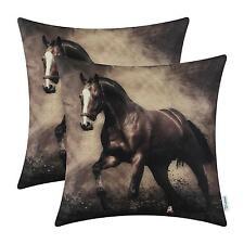 Wild Horse Print Throw Pillow Covers 18 x 18 Western Set 2 Hiend Decor New
