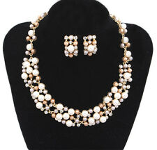 Beautiful Lady Pearl Crystal Pendent Necklace Earrings Set Jewelry Accessory UK