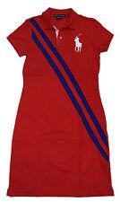 Polo Ralph Lauren Sport Womens Big Pony Tennis Dress Cotton Shirt Red Blue Large