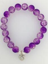 Purple & Clear Crackle Glass Bead Bracelet  Silver Colour HEART Charm Rhinestone