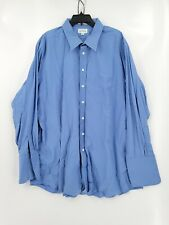 Paul Frederick Mens Size 19-36 Blue Long Pleated Sleeves Button Up Dress Shirt