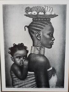 """Original- ALBERT MUKASA WILSON """"Africa The Mother"""" Signed Art Cert of Auth Read"""
