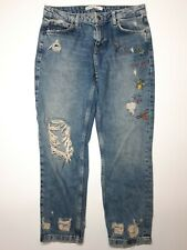 Zara Embroidered Insect Dragonfly Bee Crop Distressed Jeans Size 8 Mid Rise