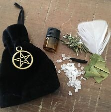 Mojo Protection bag ✨ Wicca Dragons Blood Herbs Pentagram Oil Feather Pagan  🌿