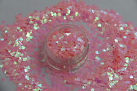 Valentines Nail Art Heart Shape Spangles Glitter Holographic Candy Pink