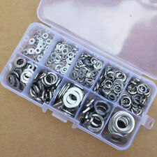 260 Pcs M2.5-M10 Stainless Steel Flat Lock Spring Washer Assortment Kit Set Case