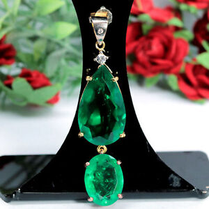 14 X 24 - 11 X 13 mm. FOREST GREEN DOUBLET EMERALD & WHITE CZ PENDANT 925 SILVER