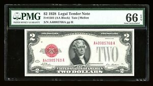 DBR 1928 $2 Legal Gem Fr. 1501 PMG 66 EPQ Serial A40985768A