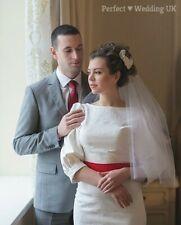 "Soft Nude Wedding Bridal Veil 1 Tier Waist Cut Edge Swarovski Crystals 30"" UK"