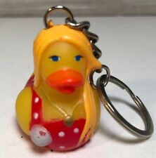 Keychain Rubber Duck In Red Polka Dot Swim Suit Blonde Hair NEW NIP Collectible