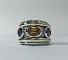 David Yurman Three Stone Garnet & Citrine Stone Renaissance Ring