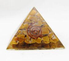 Tiger Eye Stone Orgone Pyramid Energy Generator Reiki Orgonite Healing Crystal