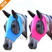 Horse Fly Mask Fit Horse Size Comfort Lycra Fly Mask with Mesh Eyes and Ears