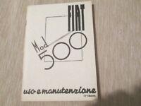 Libretto di uso e manutenzione Fiat 500 Topolino 1948-15° ediz.