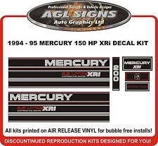 1994 1995 MERCURY 200 hp XRi  2.5 Litre Reproduction Outboard Decals 150 175 hp